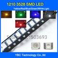 1210 3528 SMD LEVOU 5colorx100pcs = 500 pcs Branco/Azul/Vermelho/Amarelo/Verde Kit de Luz de Diodo Pack