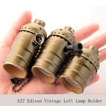 UL Винтаж круглые светодиодные лампы E27 Эдисон разъем в ретро-стиле, застежка-молния, выключатель с цепочкой и круглым выключателем подвесной светильник-кредитницы 3 шт./лот