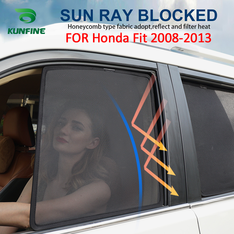 4PCS/Set Or 2PCS/Set Magnetic Car Side Window SunShades Mesh Shade Blind For Honda Fit 2008-2013