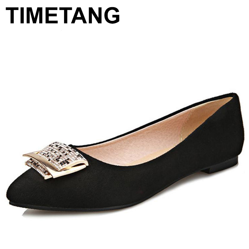 TIMETANG big size 31-47 women flat shoes pointed toe lady sweet quality super soft female cozy flats footwear shoes C343 new 2017 spring summer women shoes pointed toe high quality brand fashion womens flats ladies plus size 41 sweet flock t179