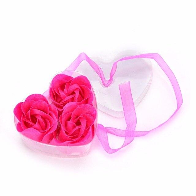 Hot Sale 3pcs Scented Bath Body Flower Soap Rose Petal in Heart Box Wedding Favor 4