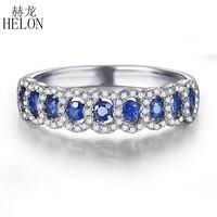 HELON Solid 10K (417) White Gold 0.95CT 100% Genuine Sapphires & Natural Diamonds Gemstone Wedding Anniversary Jewelry Band Ring