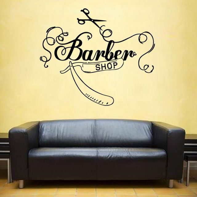 Man Barber Shop Sticker Name Chop Bread Decal Haircut Posters Vinyl ...