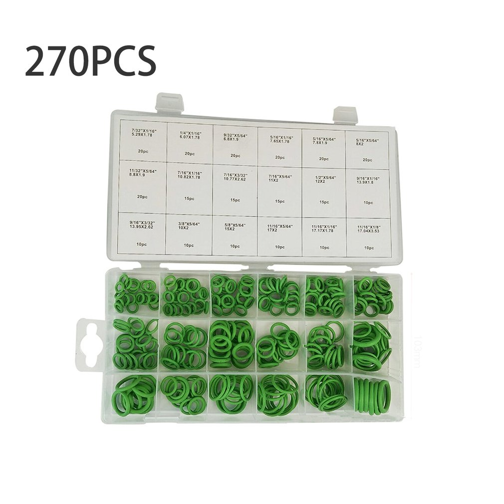 O Ring 270 pcs Rubber Washer Seals Watertightness Assortment Kit Green 18 Different Size With Plastic Case Oil Seal Gaskets Air 419 pcs universal o ring gaskets metric washer seals watertightness assortment kit automotive mechanics repair box hardware set