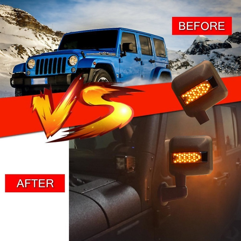 Side Mirrors Light,LED Turn Signal Arrow lights with Integrated Indicator Rear View Mirrors for Jeep Wrangler JK JKU 2007 - 2017 W