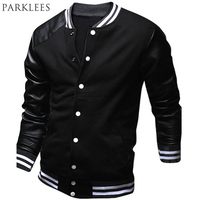Cool Men Boy College Baseball Jacket Autumn Fashion Mens Slim Fit Black Pu Leather Sleeve Jackets