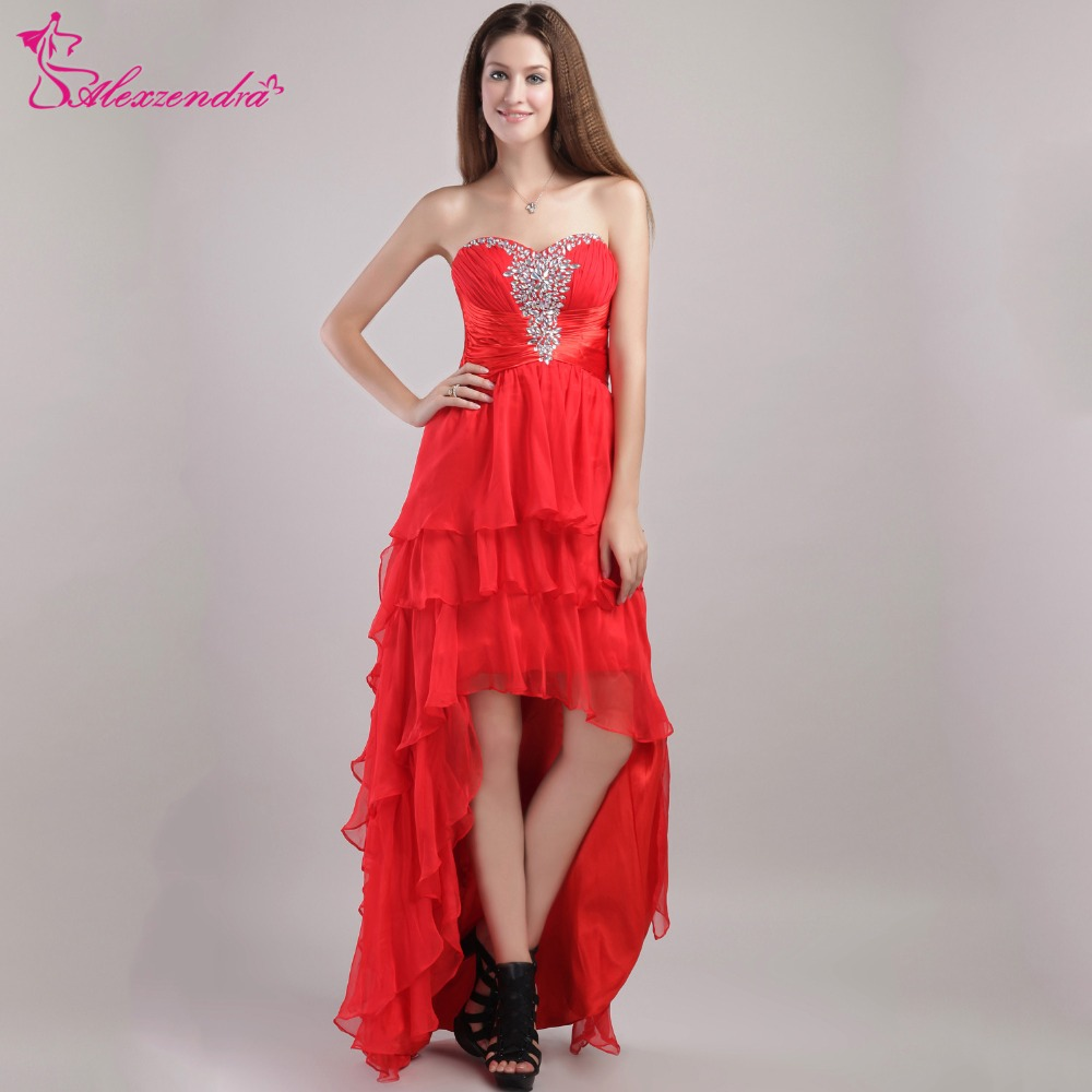 Alexzendra Red Beaded Sweetheart High Low   Prom     Dresses   Evening Formal Gowns Custom Made Party   Dress   Plus Size