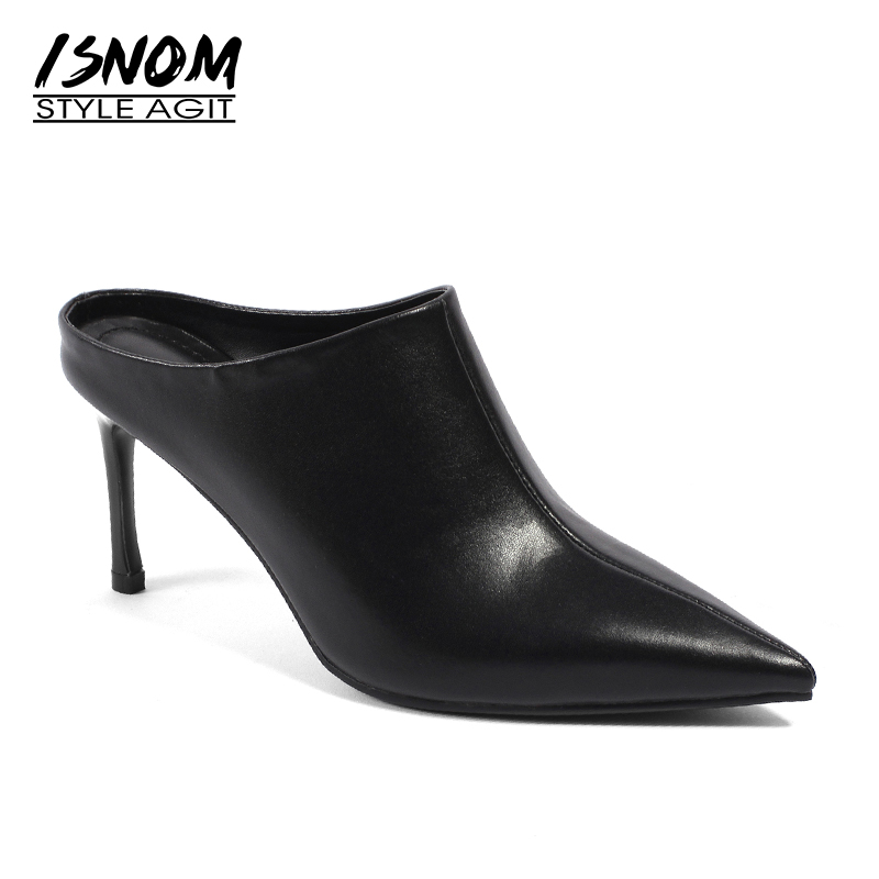 ISNOM Sexy Stiletto Heels Women Pumps Pointed Toe Female Mules Shoes Summer Footwear 2019 Fashion Genuine