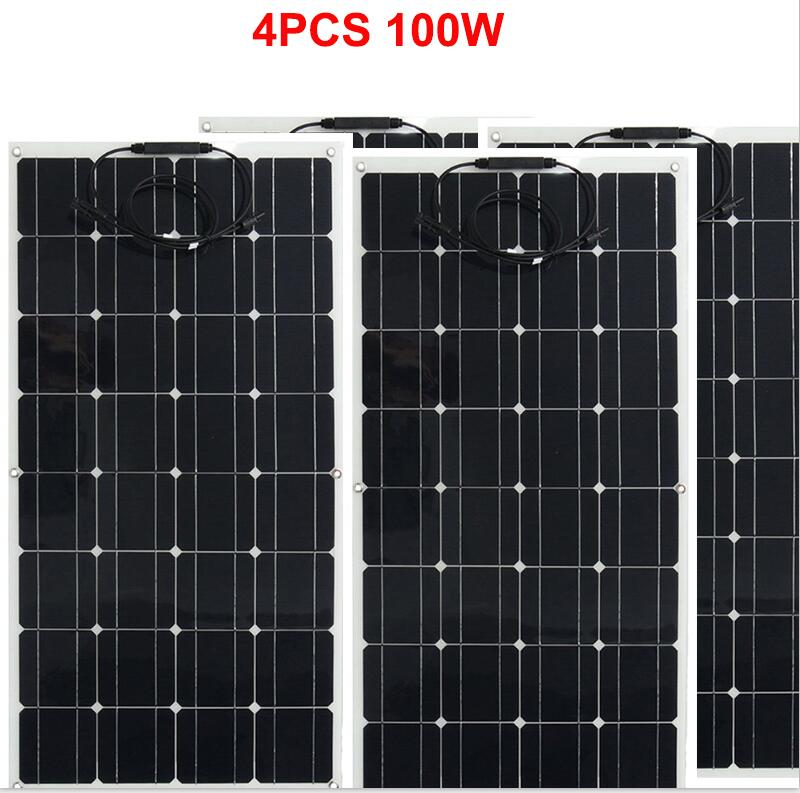 Panel solar 300w 200w 400w 12V voltios panel solar flexible monocrsytalline célula solar para coche Marina batería solar 12 v/24 v 400w - 4