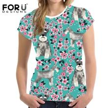 FORUDESIGNS Funny T Shirt Women Schnauzer Print T-shirt Ladies Florals Pattern Casual Tee Females Harajuku Tees Tops