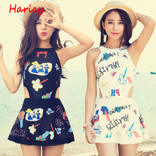 2017 New Printed One Piece Swimsuit Sexy Cut out Push Up Swimwear Women Dress Bathing Suit Plus Size Swim Suit For Women