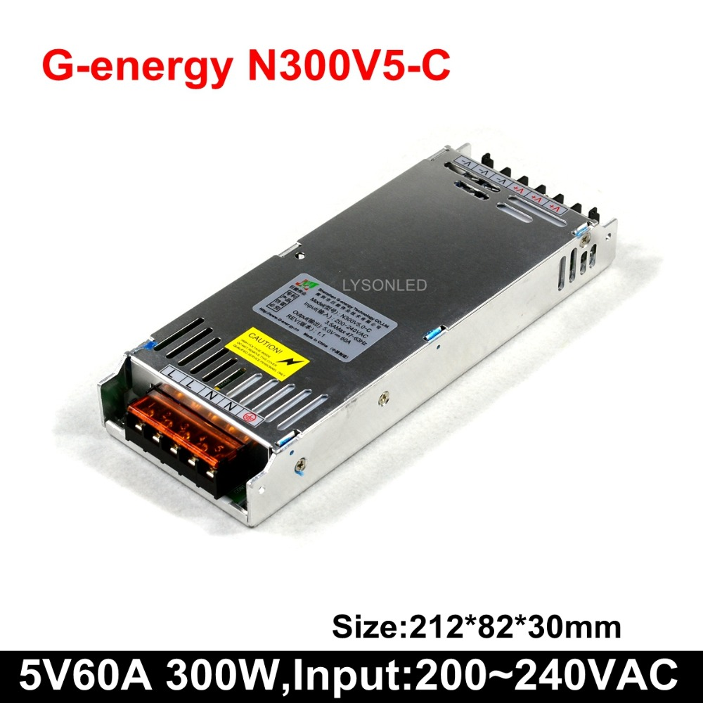 G-energy N300V5-C Slim 5V 60A 300W LED Display Power Supply , Size 212*83*30mm 300W LED Video Screen Switching Power Supply