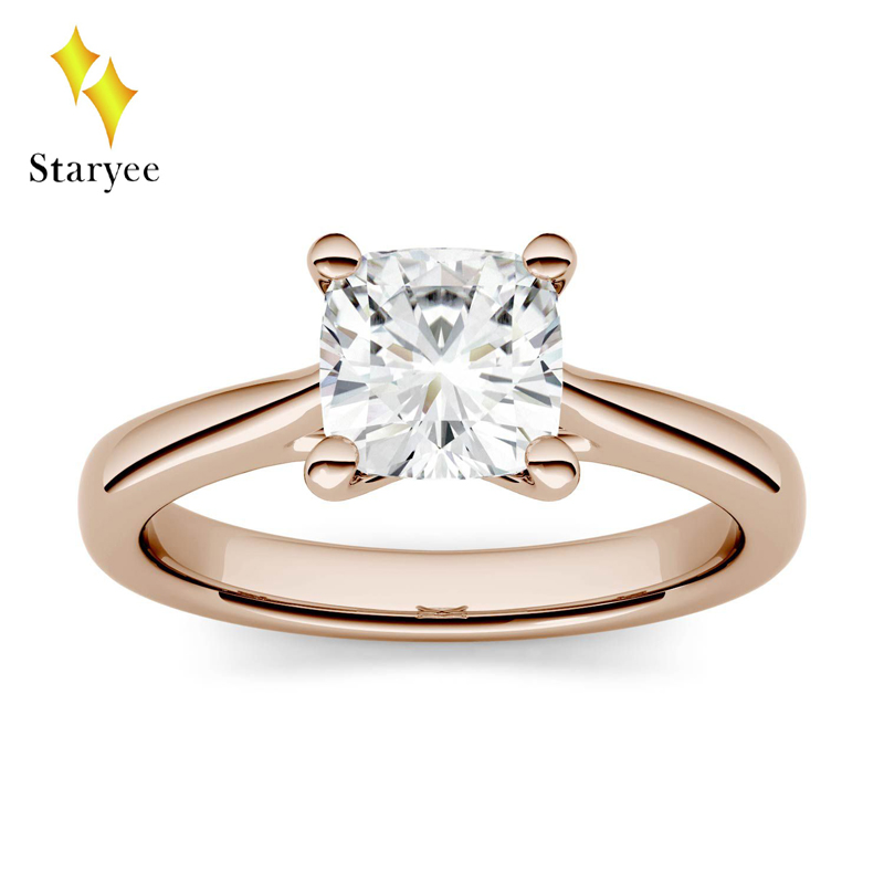 Moissanite Engagement Ring Certified Charles Colvard 1.1ct 6mm VS DEF Cushion Cut Real 14K Rose Gold Diamond Fine Jewelry For Wo