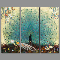 Luxurious Garden Animal Brids Peacock Picture Decoration Peahen Canvas Painting Wall Art Living Room Printed Home