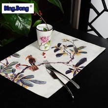 placemat Eat mat New Chinese style cloth art high-grade painting flowers bird eat heat insulation pad table dishes cup