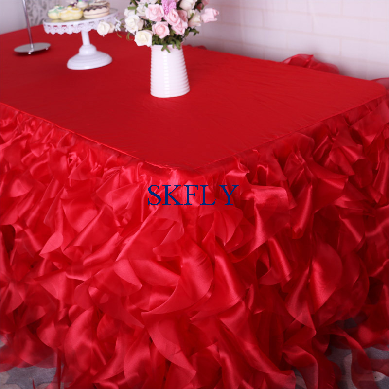 CL010A  More Colors Custom Made  Fast Shipping Wedding Ruffled Red Blue Pink Black Blush Green Organza Curly Willow Table Skirt
