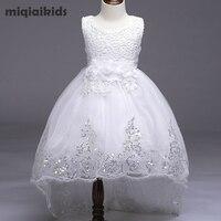 Retail 5 Colour 2017 New Arrival Summer Children Dress Wedding Dress White After Short Before Long