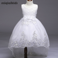 Retail 5 Colour 2017 New Arrival Summer Children Dress Wedding Dress White After Short Before Long