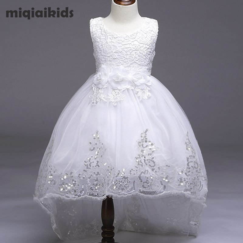 Retail 5 color 2018 New Arrival Summer Baby Girls Dress Wedding Dress White After Short Before