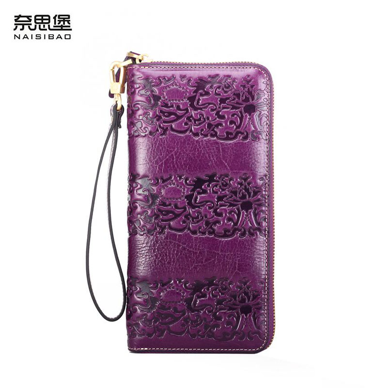 цена на NAISIBAO New luxury women genuine leather bags fashion cowhide Embossed women clutch bag Double zipper women leather wallets
