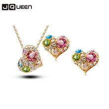 2017 Rose Gold Plated Crystal Wedding Bridal Colorful Heart Jewelry Sets Wholesales Fashion Jewelry for Women NYJS52