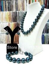 Envío libre>>>>> 100% real 12 MM Negro Shell Collar de Perlas Pendiente de la Pulsera AAA