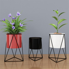 Stand Planter Iron-Flower-Stand Gardening-Supplies Display Metal Indoor New Geometric