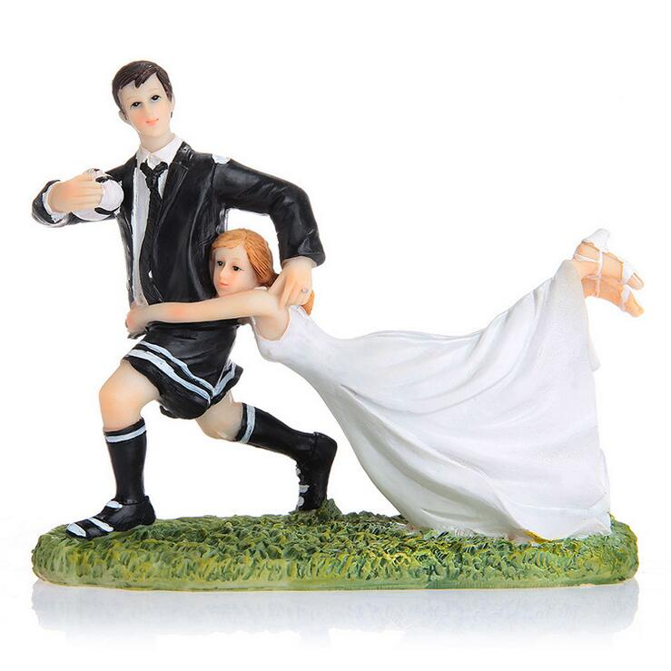 Free shipping Football/Rugby Couple Wedding Cake Topper Bride & Groom Resin Cake Topper