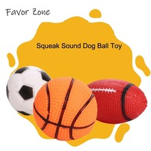 Rubber Dog Ball Squeak Sound Interactive Toy For Dogs Pet Puppy Toys Rubgby Football Basketball Products