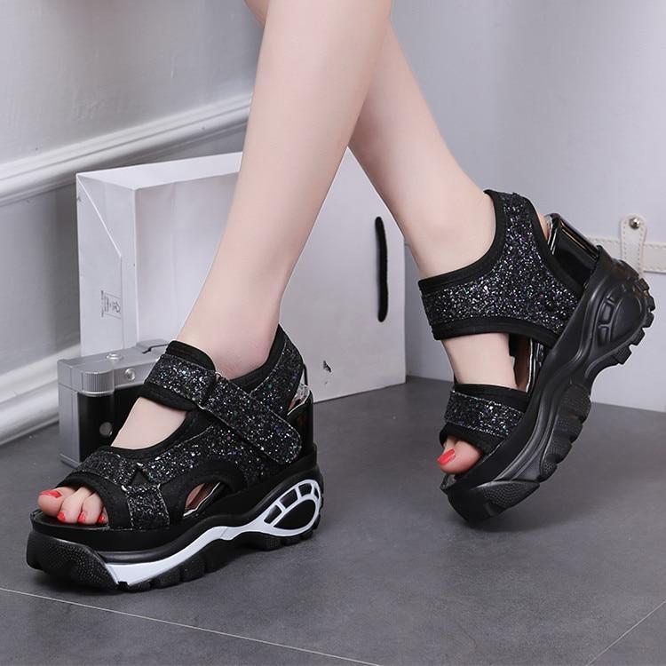 Zapatos Mujer Silver 2018 Cuñas Bling Sandalia Talones Altos Mujeres Zapatillas Ascensor Sandalias Ultra Plataforma black Slides Verano xrWr68Zq0w