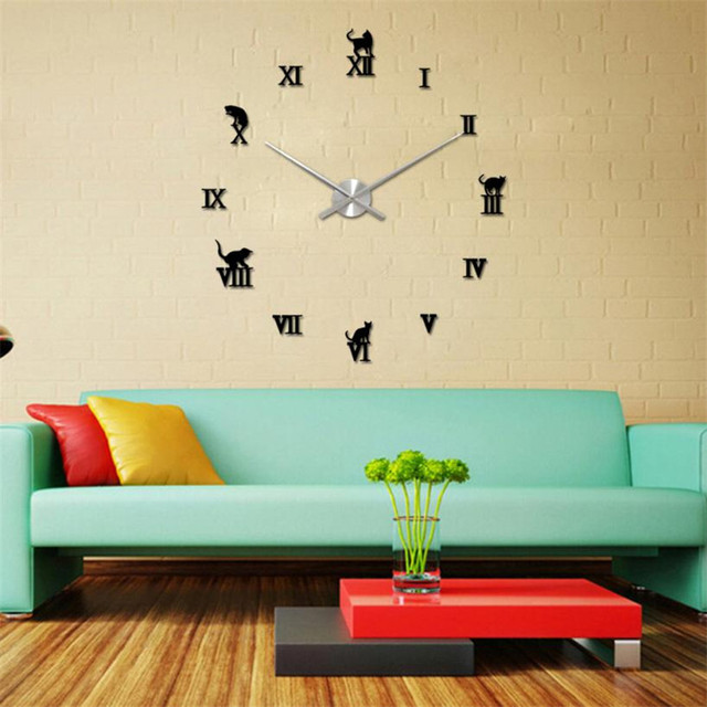 D3 high cost effective modern diy large wall clock 3d mirror surface sticker home decor