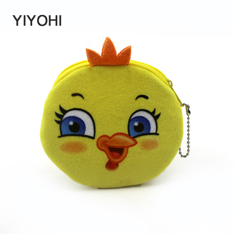 YIYOHI Cute Chicken bird Women Children Girls Cotton Coin Purse Holders Zipper Money Bag Pouch Kids Small Wallets Coin Bank Case