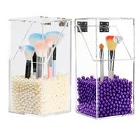 Transparent PS Flip Makeup Brush Tube White Purple Pearl Dustproof Desktop Makeup Brush Storage Box