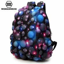 2017 de lujo harajuku colorido galaxy mujeres hombres mochila bolsa de la escuela adolescente femenino fresco del ordenador portátil masculina mochila mochila