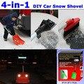 New 4-in-1 DIY Multi Car Snow Shovel Brush Ice Scraper Parking Reflective Warning Demountable Aluminum Plastic - free shipping