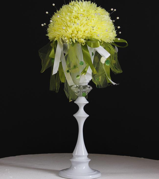 2 Pieces 18 Inch White Metal Trumpet Centerpiece Vase For Wedding