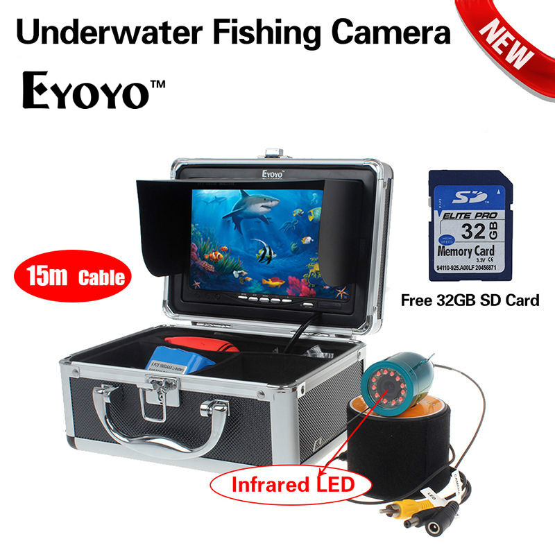 EYOYO Original 15M 7 HD 1000TVL 32GB Underwater Fishing Camera IR Fish Finder DVR Recorder 92 Degree With Removable Sunshield ir 92 2016 rxdz