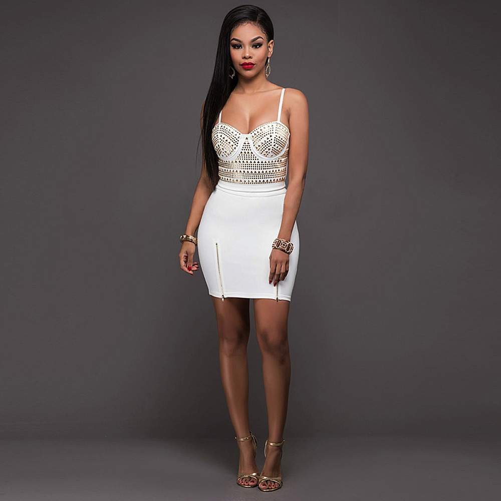 Zmv Kgso Sexy Bandage Dress For Women Nero Bianco aderente-6384