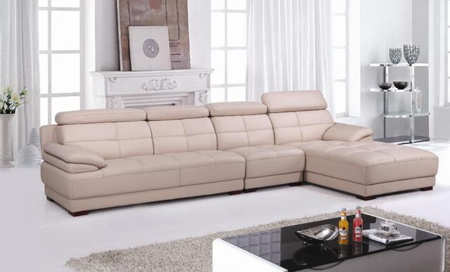 Free Shipping Beige Leather Top Grain Cattle Leather, Lshaped Sectional  House Furniture Sofa Set,