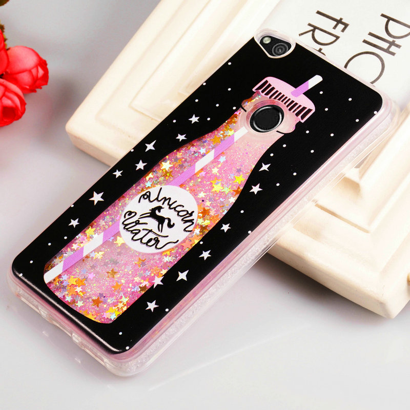 liquid glitter case for huawei p8 lite 2017 cover silicone cute case for honor 8 lite cover