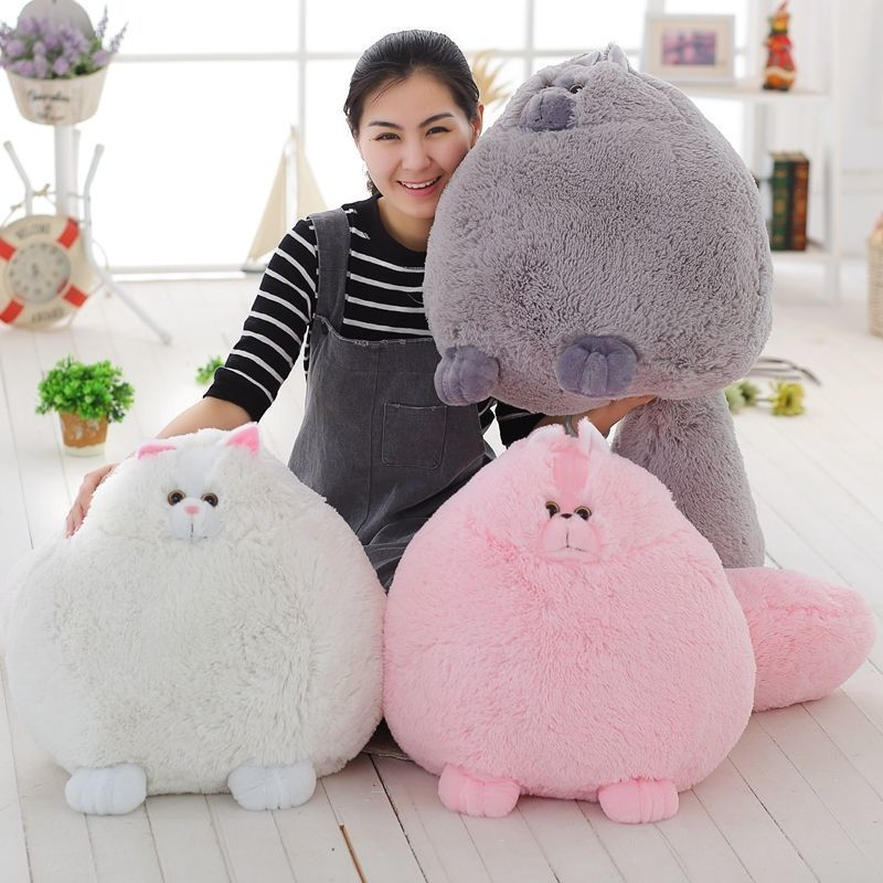 Big Size Gray Plush Cat Toy Creative Fat Cat Doll With A Scarf Gift About 40cm Dolls & Stuffed Toys Stuffed & Plush Animals