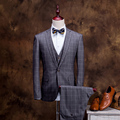 2017 New Arrivals Classic Retro England Plaid Style Men Suit Blazer+Vest+Pants,Fashion Elegant Men Dress Business Casual Style