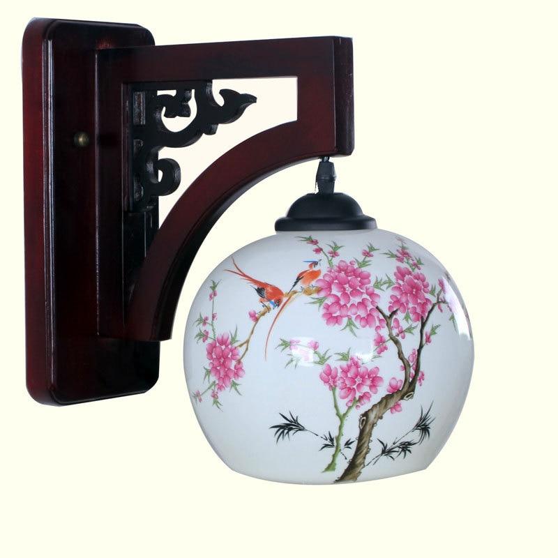 ФОТО Chinese style wall lamp wood jingdezhen ceramic wall lamp wall lights balcony wall lamp
