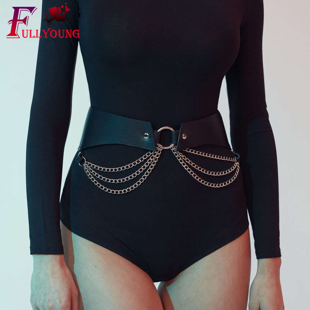Fullyoung Design Waist Belts For Women Fashion Punk Belt Fashion Adjustable Leather Harness Black Belt Harness High Quality