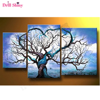 2018 Classic style home decoration diamond painting Blue Ocean Cloud Tree 3 pcs square drill full diamond embroidery triptych