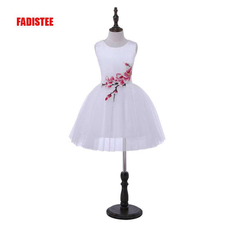 New Arrival  Pretty Flower Girl Dresses Baby Girl Infant Dress Appliques Satin A-line Short Little Girl Dress