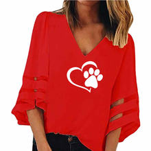 Dog Paw Print Women Sexy V-neck Splicing