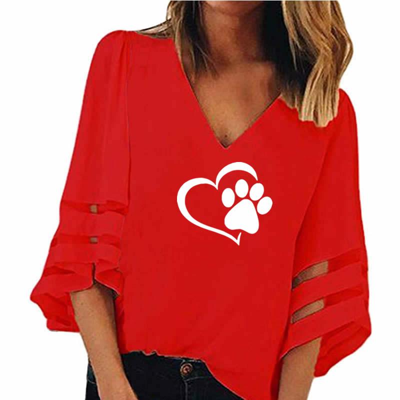 2018 nueva moda perro Paw Print mujeres Sexy v-cuello empalme hueco más tamaño camiseta Tops media manga de malla suelta camisas