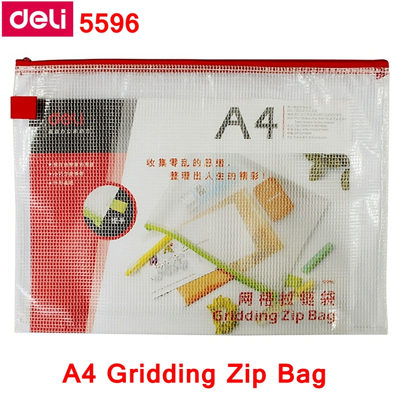 1PCS Deli 5596 A4 Gridding Zip Bag 245x345mm File Bag File Pocket Zip Folder Documents Pocket Mixed Color Wholesale