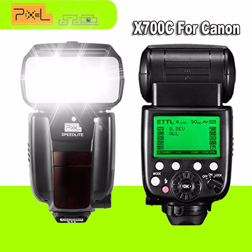 2Pcs Pixel X700C Wireless TTL HSS Flash Speedlite for Canon DSLR Cameras VS Yongnuo YN-568EX II YN600EX-RT II  Flash Speedlight genuine meike mk950 flash speedlite speedlight w 2 0 lcd display for canon dslr 4xaa